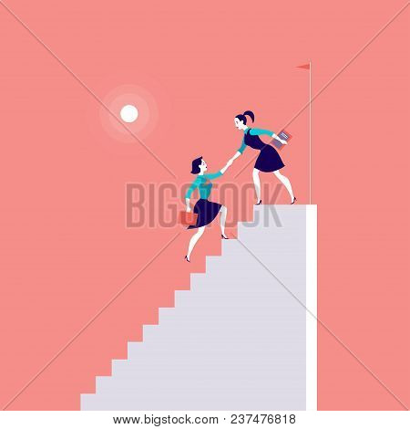Vector Flat Illustration With Business Ladies Climbing On Top Of White Stairs Together On Red Backgr