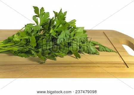 Bunch Of Parsley On A Cutting Board