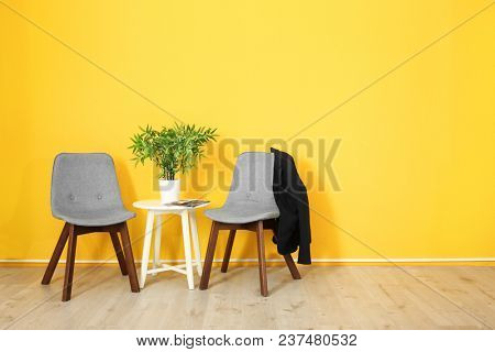 Elegant room interior with comfortable chairs. House design
