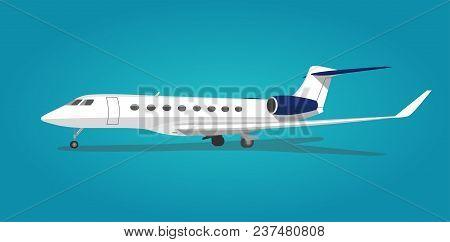 Jet Plane Parking Isolated.modern Travel On Transport Passenger Jet Airliner Plane. Side View.  Vect