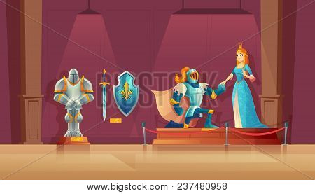 Vector Museum Concept, Medieval Exhibition. Armored Knight With Helmet, Princess In Blue Silk Dress,
