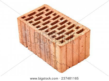 Old dirty brick on white background
