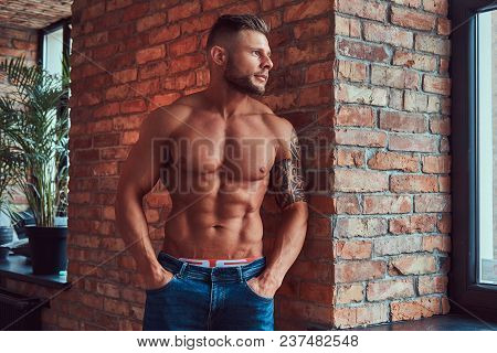 A Handsome Bearded Bodybuilder With Tattoo On His Arm, Leaning Against A Brick Wall, Looking Out The