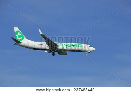 Amsterdam The Netherlands - April, 19th 2018: Ph-hxc Transavia Boeing 737-800  On Final Approach To