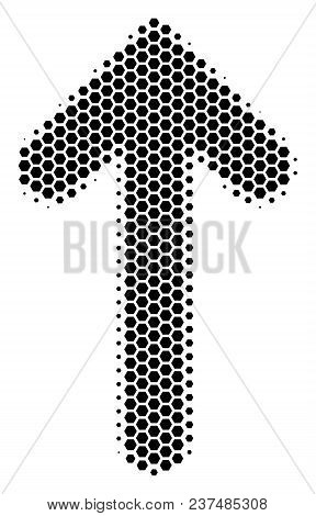 Halftone Hexagon Arrow Direction Icon. Pictogram On A White Background. Vector Concept Of Arrow Dire