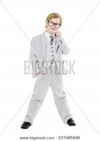 Child Boy In Glasses, Boy In Vested Suit Full Length Portrait, Elegant Kid Isolated Ove White Backgr
