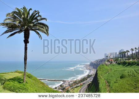 View Of The Coastline In Miraflores In The South Of Lima, Peru