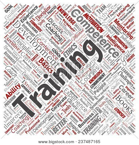 Conceptual training, coaching or learning, study square red word cloud isolated on background. Collage of mentoring, development, motivation skills, career, potential goals or competence