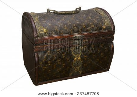 Antique Dusty Decorative Curly Chest (casket) Isolated On White Background