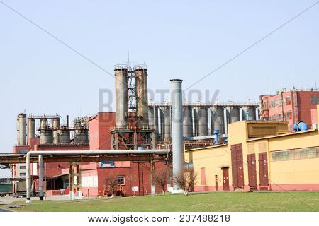 Chemical Plant With Rectification Columns, Reactors, Heat Exchangers, Pipes, Tanks, Equipment, Produ
