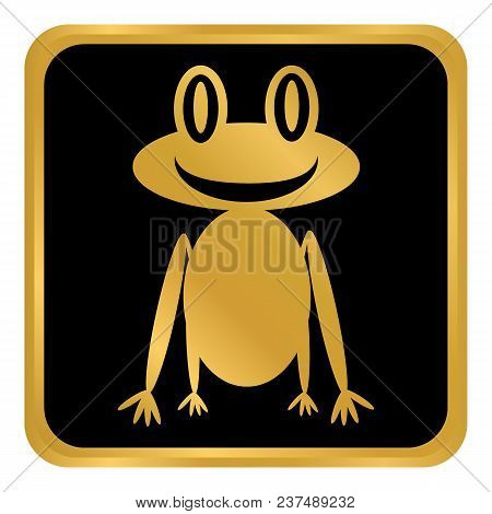Frog Button On White Background. Vector Illustration.