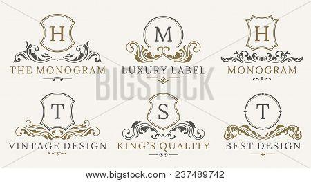 Retro Royal Vintage Shields Logotype Set. Vector Calligraphyc Luxury Logo Design Elements. Business