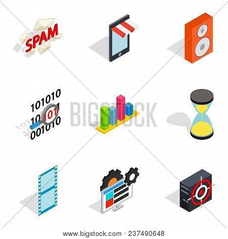 Web setup icons set. Isometric set of 9 web setup vector icons for web isolated on white background poster