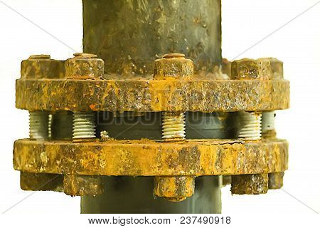 Heavily Corroded Bolts And Nuts At Flange Of Process Piping. Selective Focus Of Bolt And Nut.
