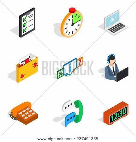 Server Setting Icons Set. Isometric Set Of 9 Server Setting Vector Icons For Web Isolated On White B