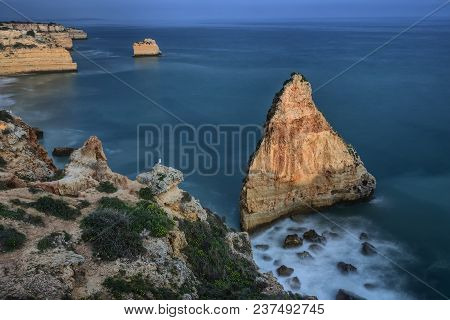 Magnificent Seascape Of The Beach Of Marinha Before Sunset Algarve.