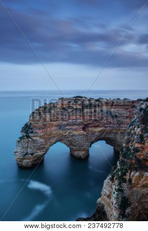 Mountains And Arches In The Shape Of A Heart On The Beach Marinha