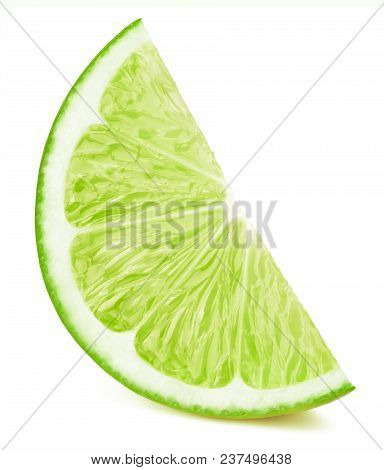 Perfectly Retouched Lime Fruit Slice Isolated On The White Background With Clipping Path. One Of The