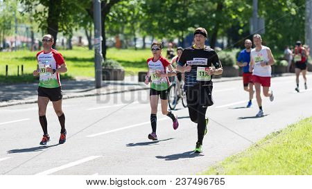 Belgrade, Serbia - April 21, 2018: Athletes From Many Countries Taking Part In 31st Belgrade Maratho