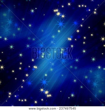 sun's rays on a blue dark sky with stars, abstract background