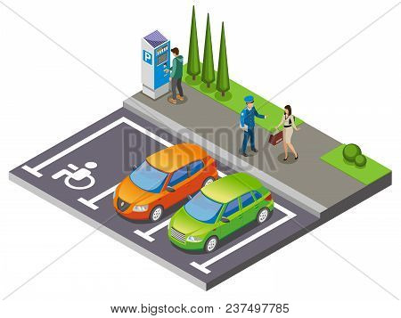 Parking Isometric Composition Cars In The Parking Lot And Driver Communicates With Parking Officer V