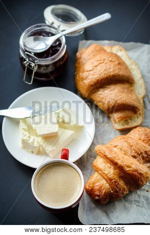 Fragrant Coffee And Croissants With Butter On The Table. Top View