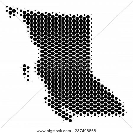 Halftone Round Spot British Columbia Province Map. Vector Geographic Map On A White Background. Vect