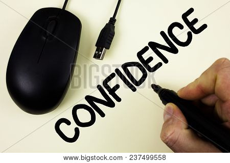 Conceptual Hand Writing Showing Confidence. Business Photo Showcasing Never Ever Doubting Your Worth