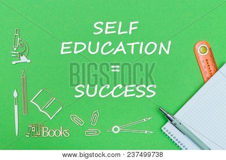 Concept School, Text Self Education Success, School Supplies Wooden Miniatures, Notebook With Ruler