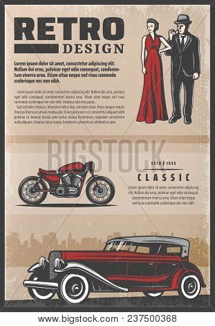 Vintage Colored Retro Poster With Classic Car Motorcycle Beautiful Woman Wearing Red Dress And Gentl