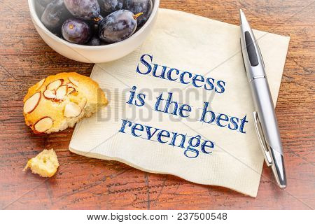 Success is the best revenge - inspirational handwriting on a napkin with fresh grapes and almond cooke