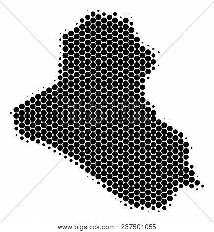 Halftone Dotted Iraq Map. Vector Geographical Map On A White Background. Vector Concept Of Iraq Map