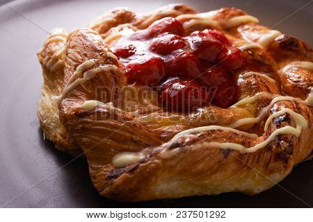 Puff Pastry Tarts With Raspberries On Plate. Close Up