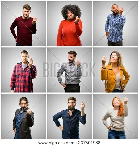 Group of mixed people, women and men angry gesturing typical italian gesture with hand, looking to camera