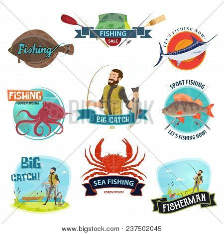 Fishing Icons Templates For Fisherman Shop Or Fisher Store Sale. Vector Isolated Symbols Of Fish And