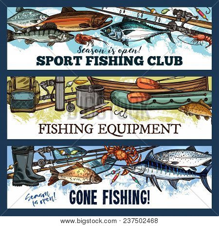 Fishing Sport Club Sketch Banners Of Fishing Equipment. Vector Design Of Fish Catch Trout, Marlin Or