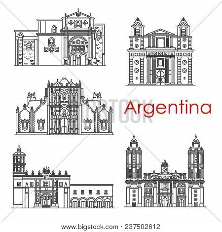 Argentina Architecture Landmarks And Famous Building Line Facade Icons. Vector Set Of Santo Domingo