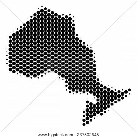 Halftone Circle Ontario Province Map. Vector Geographical Map On A White Background. Vector Collage