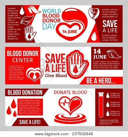 Blood Donor Medical Center Banner Set For Blood Donation Template. Red Drop Of Blood With Heart And
