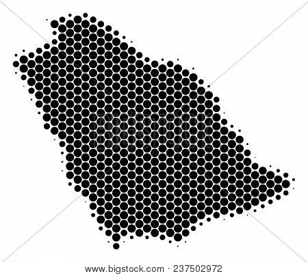Halftone Dot Saudi Arabia Map. Vector Geographical Map On A White Background. Vector Composition Of