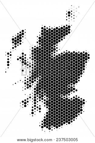 Halftone Round Spot Scotland Map. Vector Geographic Map On A White Background. Vector Collage Of Sco