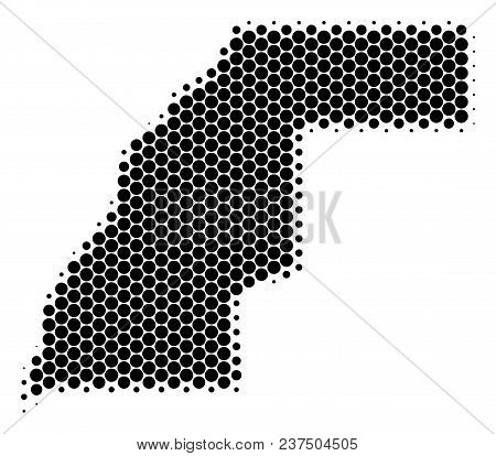 Halftone Circle Western Sahara Map. Vector Geographic Map On A White Background. Vector Mosaic Of We