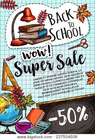 Back To School Sale Poster Or Special Promo Design Template Of Study Supplies And Stationery On Chec