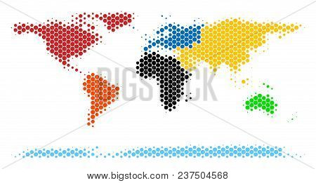 Halftone Circle World Continent Map. Vector Geographical Map On A White Background. Vector Compositi