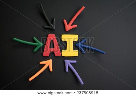 Important Of Ai Artificial Intelligent  Concept, Colorful Arrows Pointing To The Alphabet Combine Wo