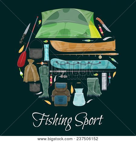 Fishing Sport Poster Of Fisherman Equipment. Vector Flat Design Of Fisher Tackles For Fish And Seafo