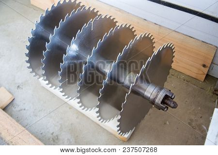 Circular Saw Blades For Woodworking Machine Tool. Close-up View.