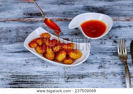 Appetizers With Menu Shrimp Wrapped With Sauce