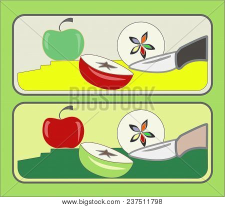 Sliced Apple With A Knife, Green And Red Apple On The Kitchen Table
