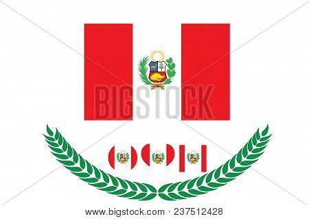 Peru Flag Vector Illustration. Peru Flag. National Flag Of Peru On White Background
